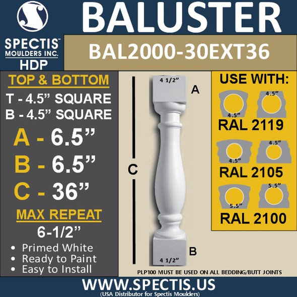 "BAL2000-30EXT36 Urethane Baluster or Spindle 4 1/2""W X 36""H"