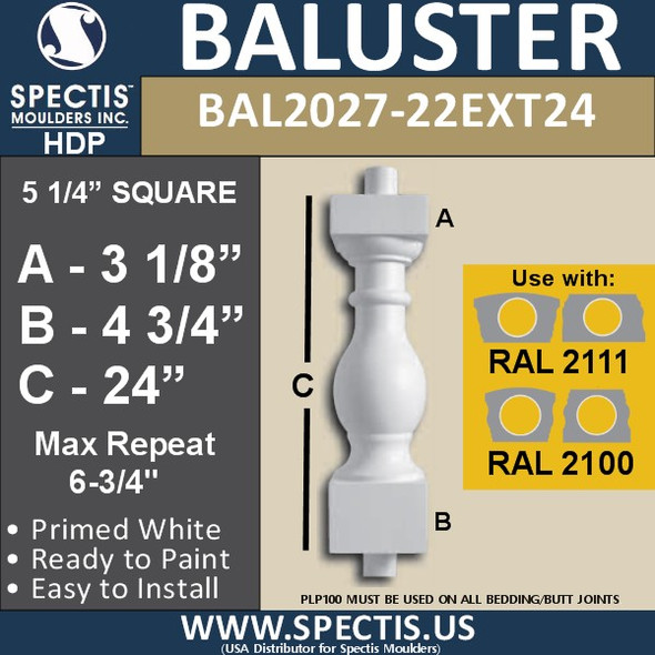 "BAL2027-22EXT24 Urethane Extended Baluster 5 1/4""W X 24""H"