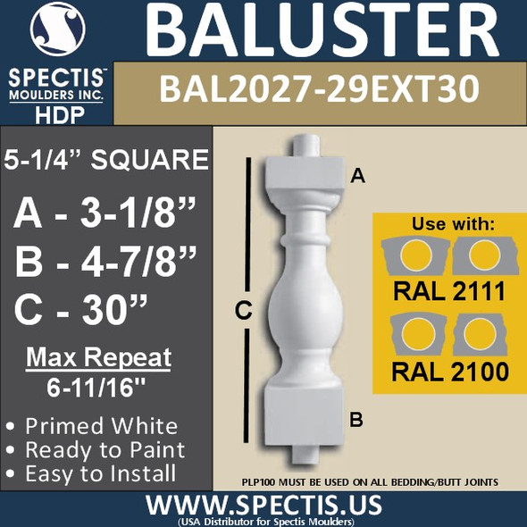 """BAL2027-29EXT30 Urethane Baluster or Spindle 5 1/4""""W X 30""""H"""