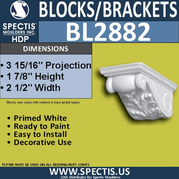 "BL2882 Eave Block or Bracket 3""W x 21.75H x 27.5""P"