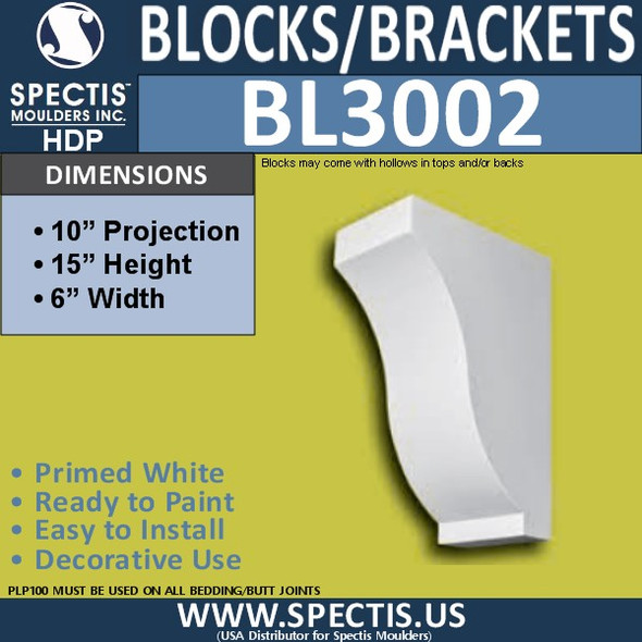 "BL3002 Eave Block or Bracket 6""W x 15""H x 10""P"
