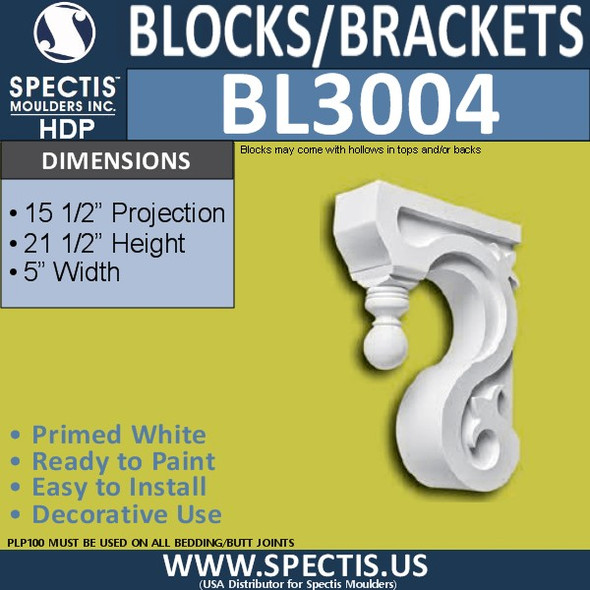 "BL3004 Eave Block or Bracket 5""W X 21/5""H x 15.5""P"