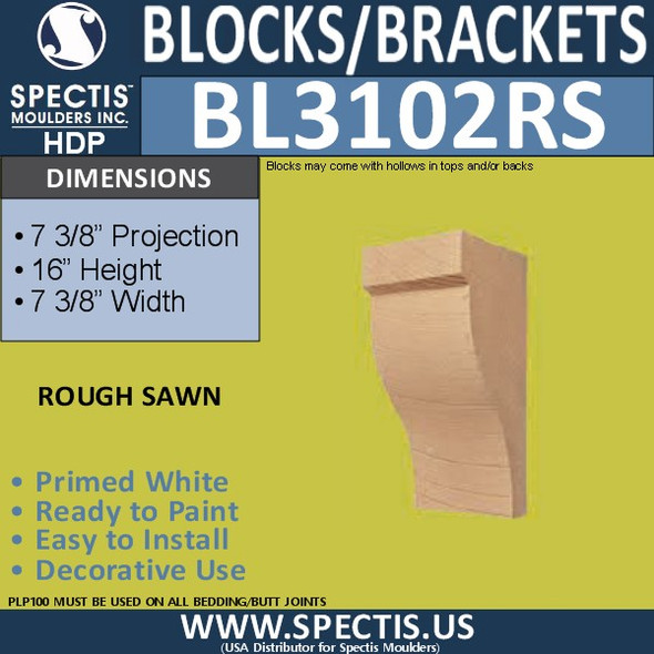 "BL3102RS Rough Sawn Eave Block or Bracket 7.37""W x 16""H x 7.37P"