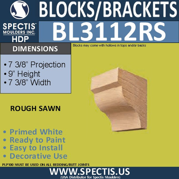 "BL3112RS Rough Sawn Eave Block 7.37""W x 9""H x 7.37""P"