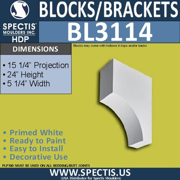 "BL3114 Eave Block or Bracket 5.25""W x 24""H x 15.25""P"