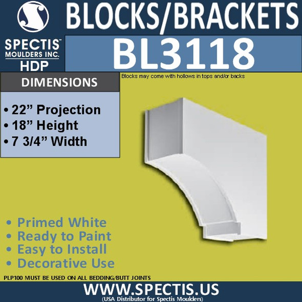 "BL3118 Eave Block or Bracket 7.75""W x 18""H x 22""P"
