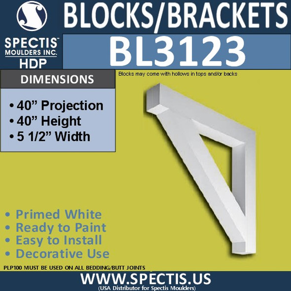"BL3123 Eave Block or Bracket 5.5""W x 40""H x 40""P"
