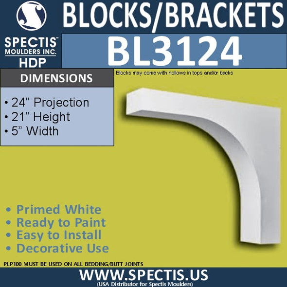 "BL3124 Eave Block or Bracket 5""W x 21""H x 24""P"