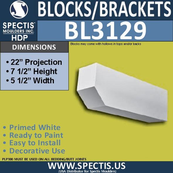 "BL3129 Eave Block or Bracket 5.5""W x 7.5""H x 22""P"