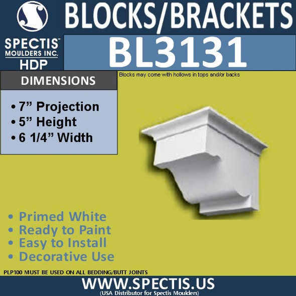 "BL3131 Eave Block or Bracket 6.25""W x 5""H x 7""P"
