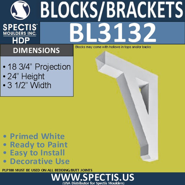 "BL3132 Eave Block or Bracket 3.5""W x 24""H x 18.75""P"
