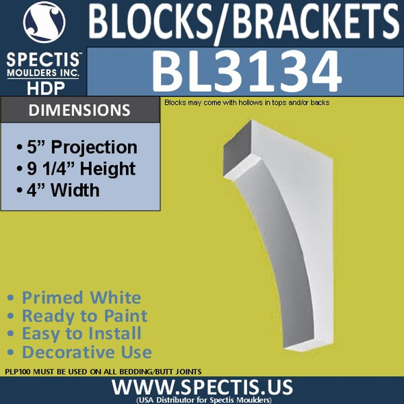 "BL3134 Eave Block or Bracket 4""W x 9.25""H x 5""P"