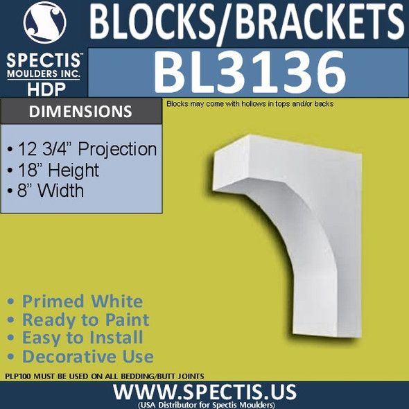 "BL3136 Eave Block or Bracket 8""W x 18""H x 12.75""P"