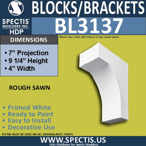 "BL3137 Eave Block or Bracket 4""W x 9.25""H x 7""P"
