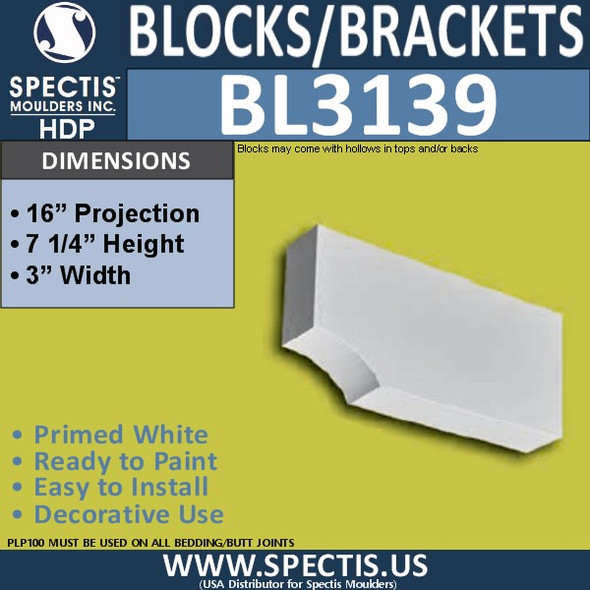 "BL3139 Eave Block or Bracket 3""W x 7.25""H x 16""P"