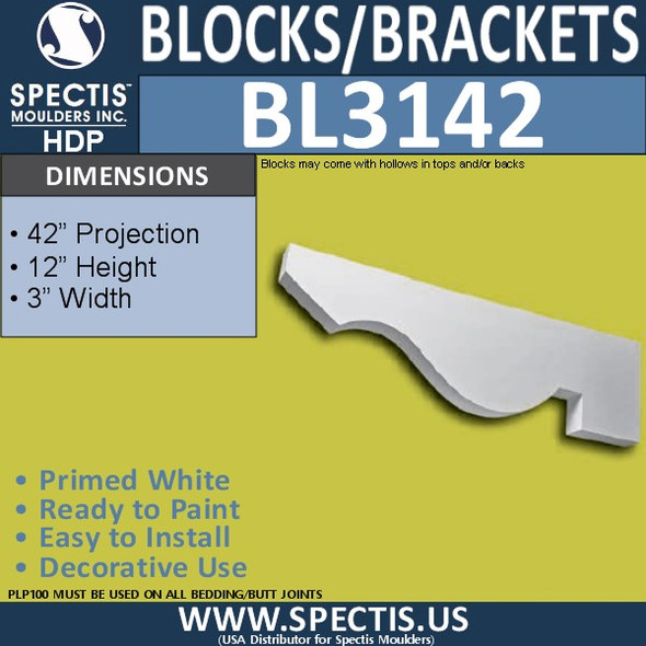 "BL3142 Eave Block or Bracket 3""W x 12""H x 42""P"