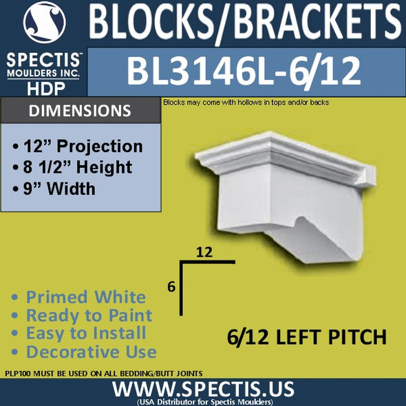"BL3146L-6/12 Pitch Eave Block or Bracket 9""W x 8.5""H x 12""P"