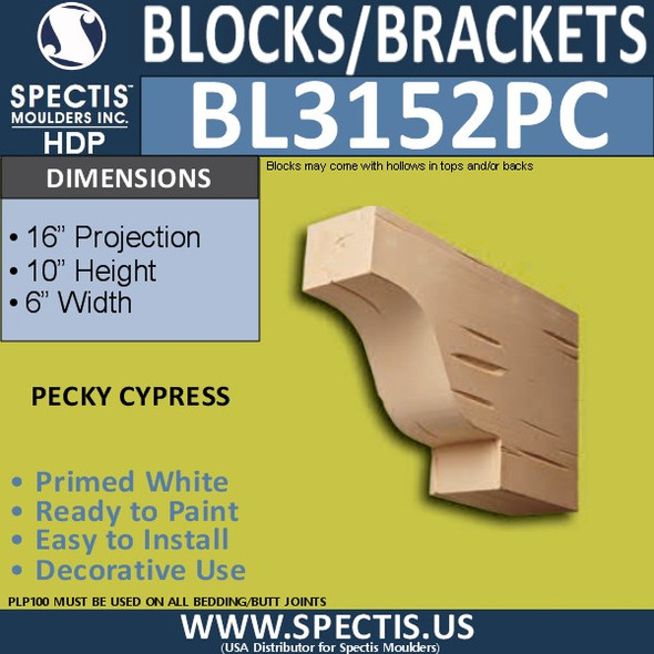 "BL3152PC Pecky Cypress Eave Block or Bracket 6""W x 10""H x 16""P"