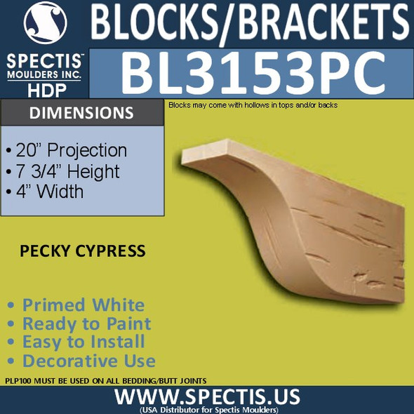 "BL3153PC Pecky Cypress Eave Block or Bracket 4""W x 7.75""H x 20""P"