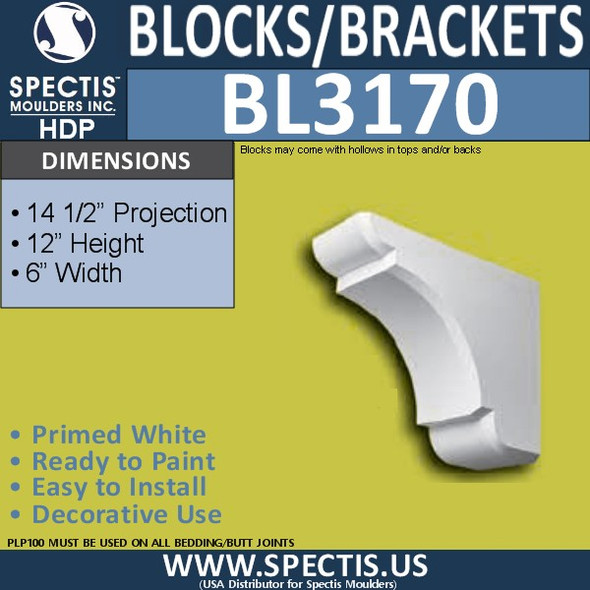"BL3170 Eave Block or Bracket 6""W x 12""H x 14.5""P"