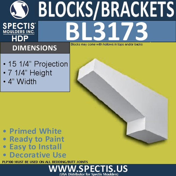 "BL3173 Eave Block or Bracket 4""W x 7.25""H x 15.25""P"