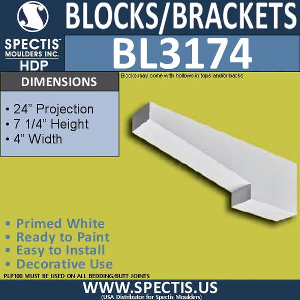 "BL3174 Eave Block or Bracket 4""W x 7.25""H x 24""P"