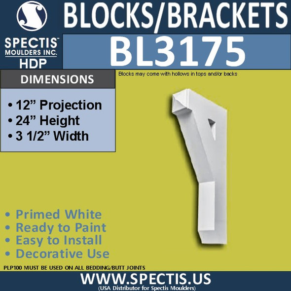 "BL3175 Eave Block or Bracket 3.5""W x 24""H x 12""P"