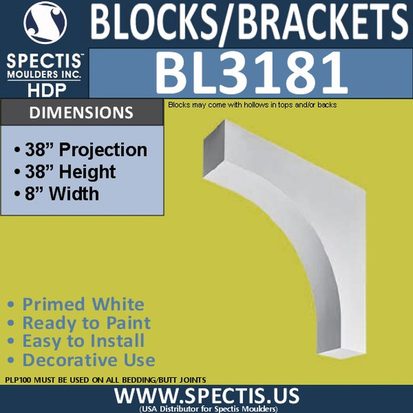 "BL3181 Eave Block or Bracket 8""W x 38""H x 38""P"