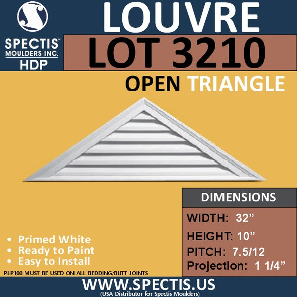 LOT3210 Triangle Gable Louver Vent - Open - 32 x 10