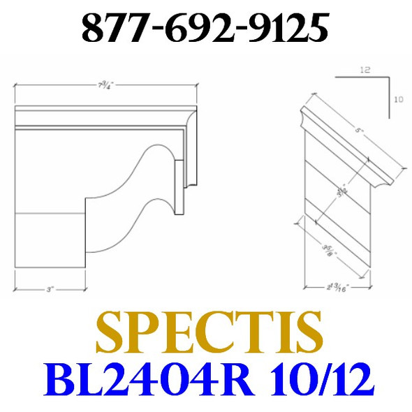 "BL2404R-10/12 Pitch Corbel or Eave Bracket 5""W x 3.5""H x 7.75"" P"