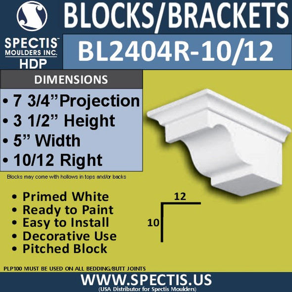 "BL2404R-10/12 Pitch Eave Bracket 5""W x 3.5""H x 7.75"" P"