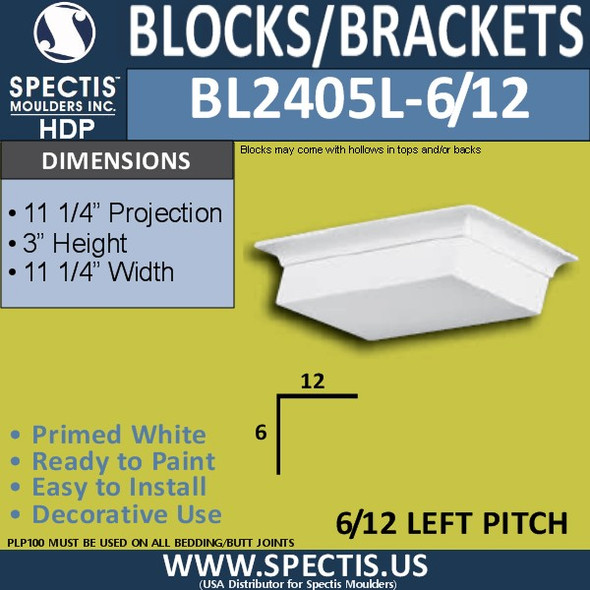 "BL2405L-6/12 Pitch Eave Bracket 11.25""W x 3""H x 11.25"" P"