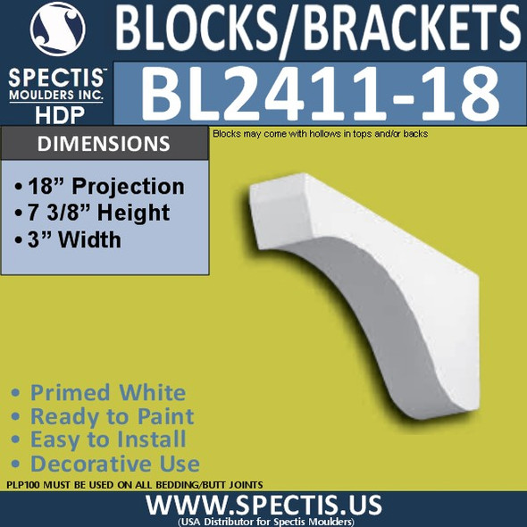 "BL2411-18 Eave Block or Bracket 3""W x 7.75""H x 18"" P"