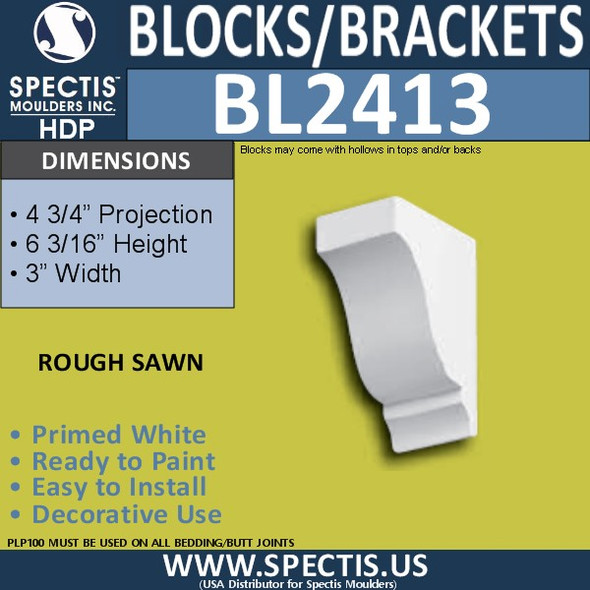 "BL2413 Eave Block or Bracket 3""W x 6""H x 4.75"" P"