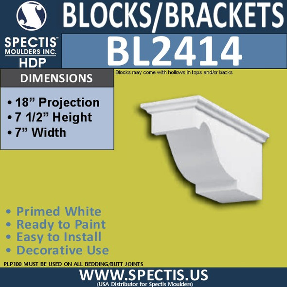 "BL2414 Eave Block or Bracket 7""W x 7.5""H x 18"" P"