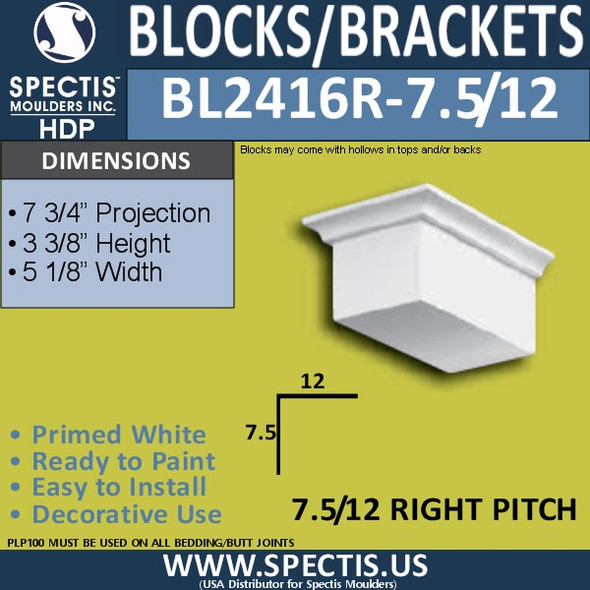 "BL2416R-7.5/12 Pitch Eave Block 5""W x 4""H x 7"" P"