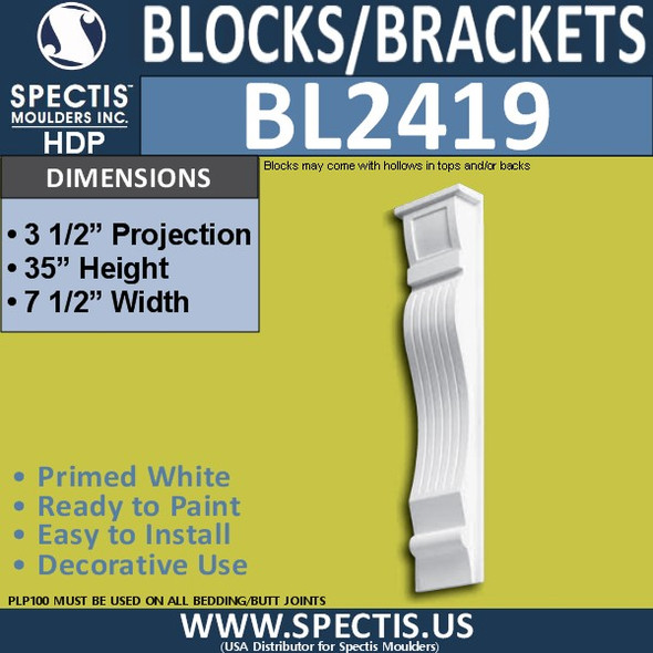 "BL2419 Eave Block or Bracket 7.5""W x 35""H x 3.5"" P"