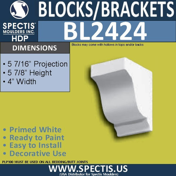 "BL2424 Eave Block or Bracket 4""W x 6""H x 5"" P"