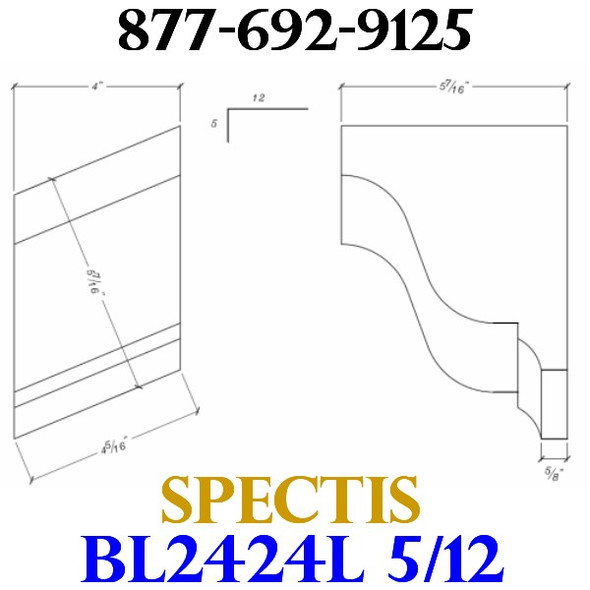 "BL2424L-5/12 Pitch Corbel Block or Bracket 4""W x 6""H x 6"" P"