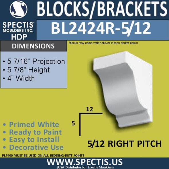 "BL2424L-5/12 Pitch Eave Block 4""W x 6""H x 6"" P"