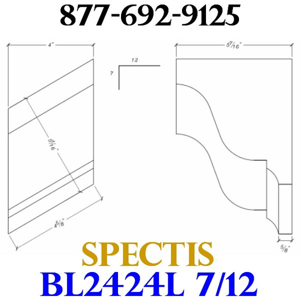 "BL2424L-7/12 Pitch Corbel Block or Bracket 4""W x 6""H x 6"" P"