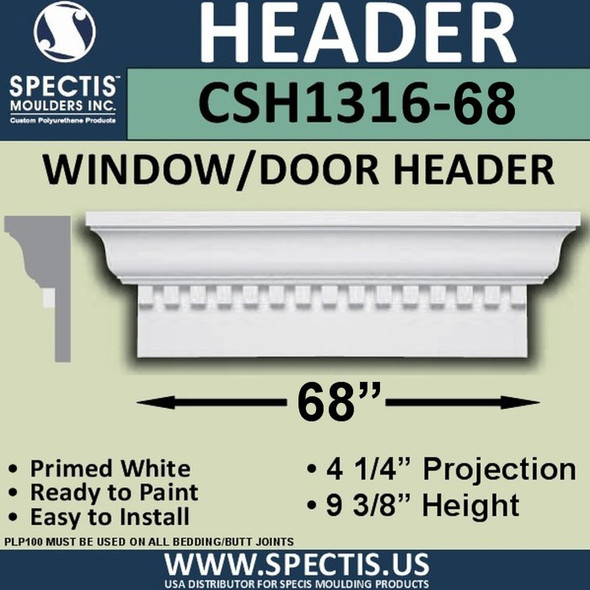 "CSH1316-68 Crosshead for Window/Door 4.25""P x 9.375""H x 68""W"
