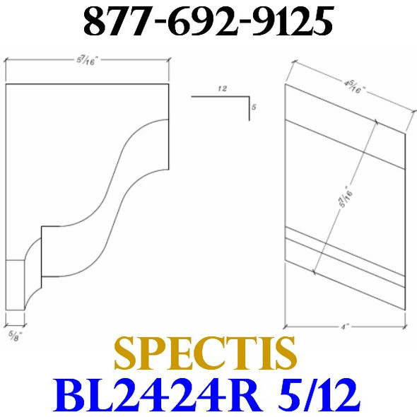 "BL2424R-5/12 Pitch Corbel Block or Bracket 4""W x 6""H x 6"" P"