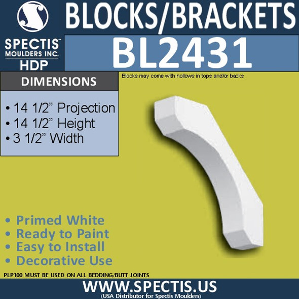 "BL2431 Eave Block or Bracket 3.5""W x 14.5""H x 14.5"" P"