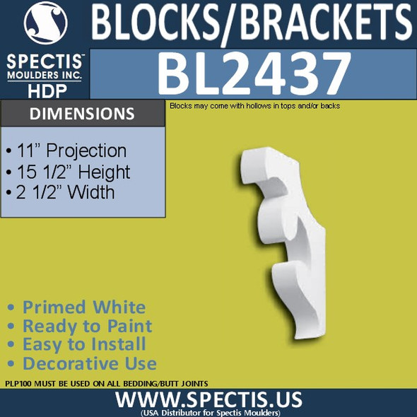 "BL2437 Eave Block or Bracket 2.5""W x 15.5""H x 11"" P"