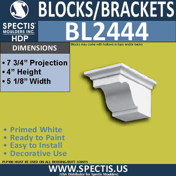 "BL2444 Eave Block or Bracket 5""W x 4""H x 8"" P"
