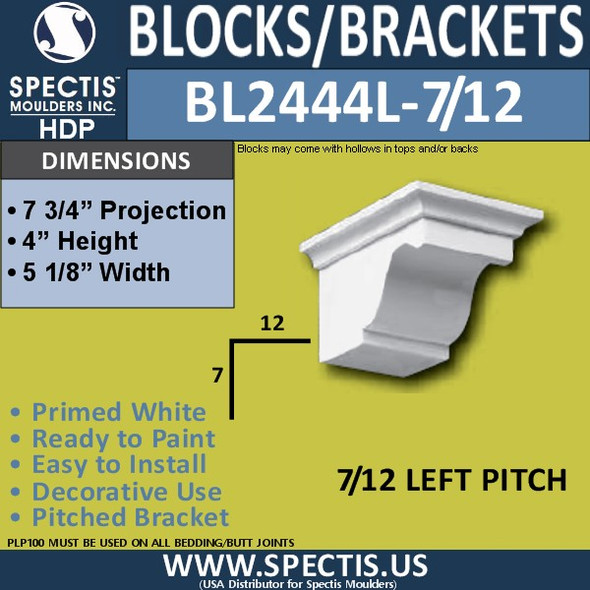 "BL2444L-7/12 Pitch Eave Block 5""W x 4""H x 8"" P"