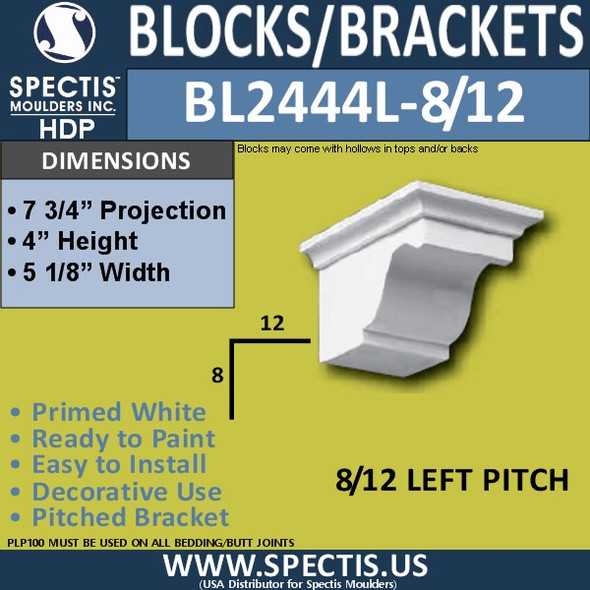 "BL2444L-8/12 Pitch Eave Block 5""W x 4""H x 8"" P"