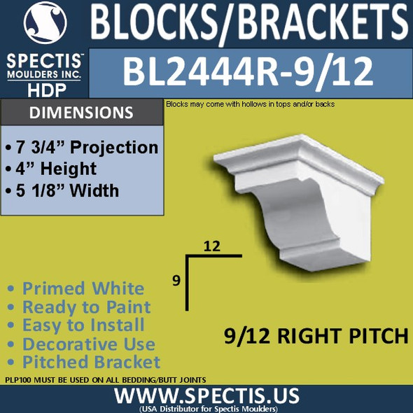 "BL2444R-9/12 Pitch Eave Block 5""W x 4""H x 8"" P"