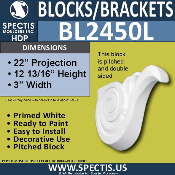 "BL2450L Left Eave Block or Bracket 3""W x 12.75""H x 22"" P"